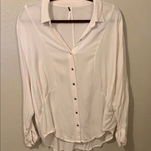 Free people white oversized button down shirt